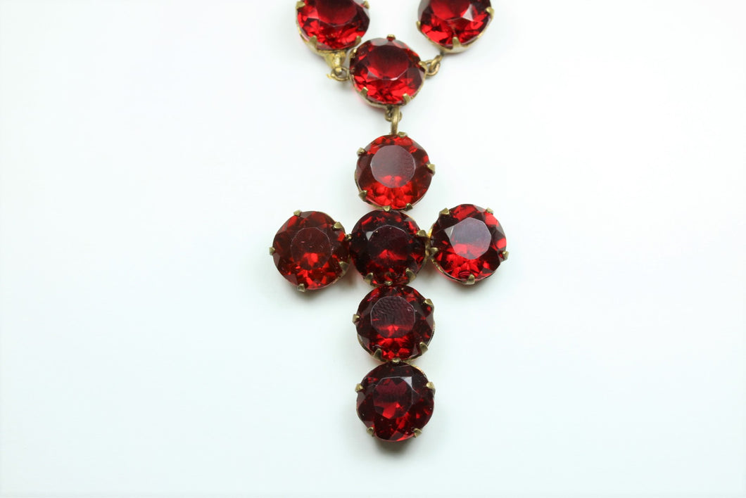 Ruby Red Czech Crystal Cross Necklace