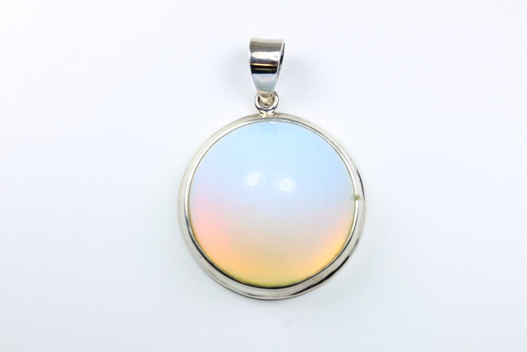 Sterling Silver Opalite Pendant emulating Moonstone