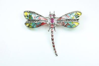 Sterling Silver and Enamel  Dragonfly Brooch