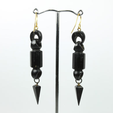 Black Whitby Jet Art Deco Drop Earrings