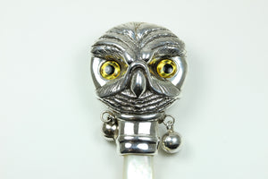 Sterling Silver Mother Of Pearl Owl Rattle