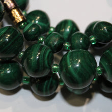 Antique Malachite and Green Glass Graduated Beaded Necklace
