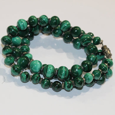 Antique Sterling Silver Malachite Graduated Beaded Necklace