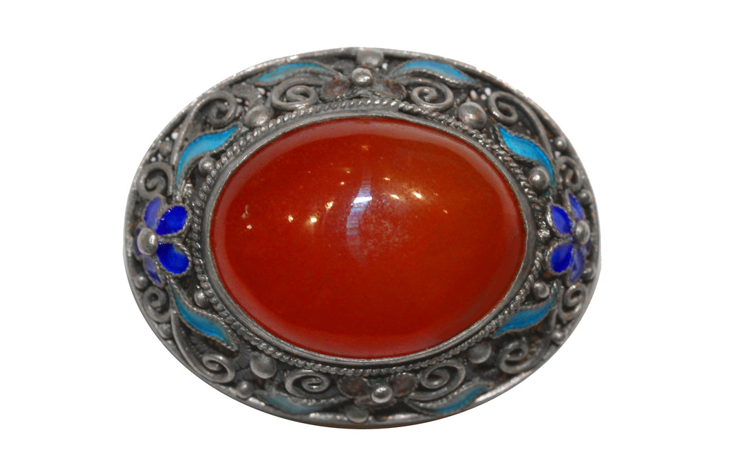 Chinese Export Carnelian Silver Brooch