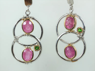 Sterling Silver Pink Tourmaline And Diopside Drop Earrings