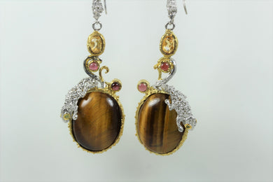 Sterling Silver Tigers Eye Citrine And Ruby Drop  Earrings