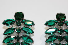 Green Czech Crystal Dangle Clip-Ons 1950s style