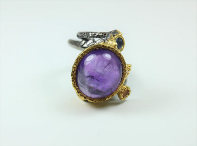 Sterling Silver Amethyst Cabochon Citrine And Sapphire Ring