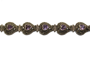 Amethyst and Marcasite Silver Bracelet