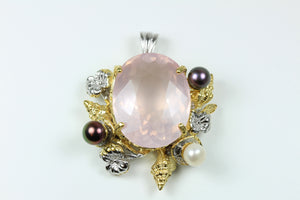 Sterling Silver Rose Quartz And White Pearl Pendant