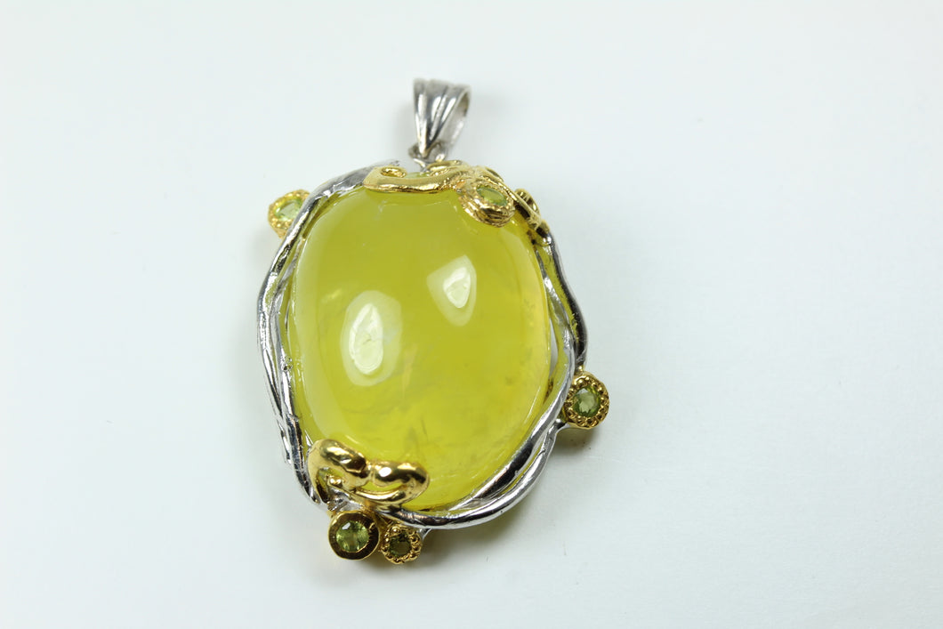 Sterling Silver Yellow Agate Pendant