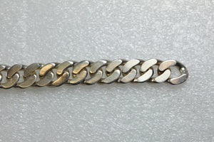 Flattenned Curb Chain  Safety Latch Closure Sterling Silver Mens Bracelet