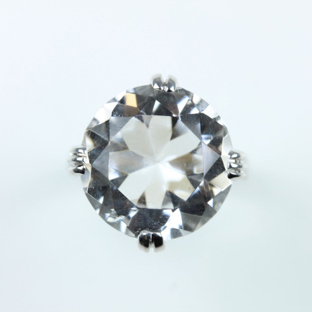 Art Deco Style 18ct White Gold 10ct Rock Crystal Ring