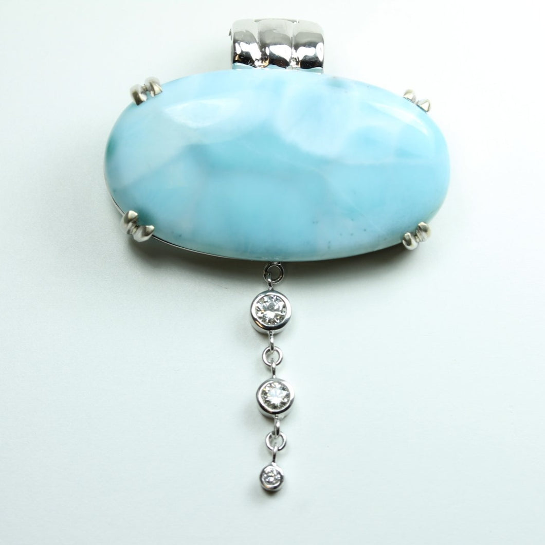 9ct White Gold Larimar and Diamond Enhancer Pendant