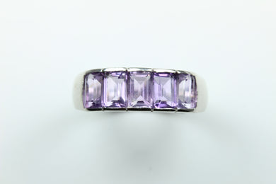 Sterling Silver Emerald Cut Amethyst Ring