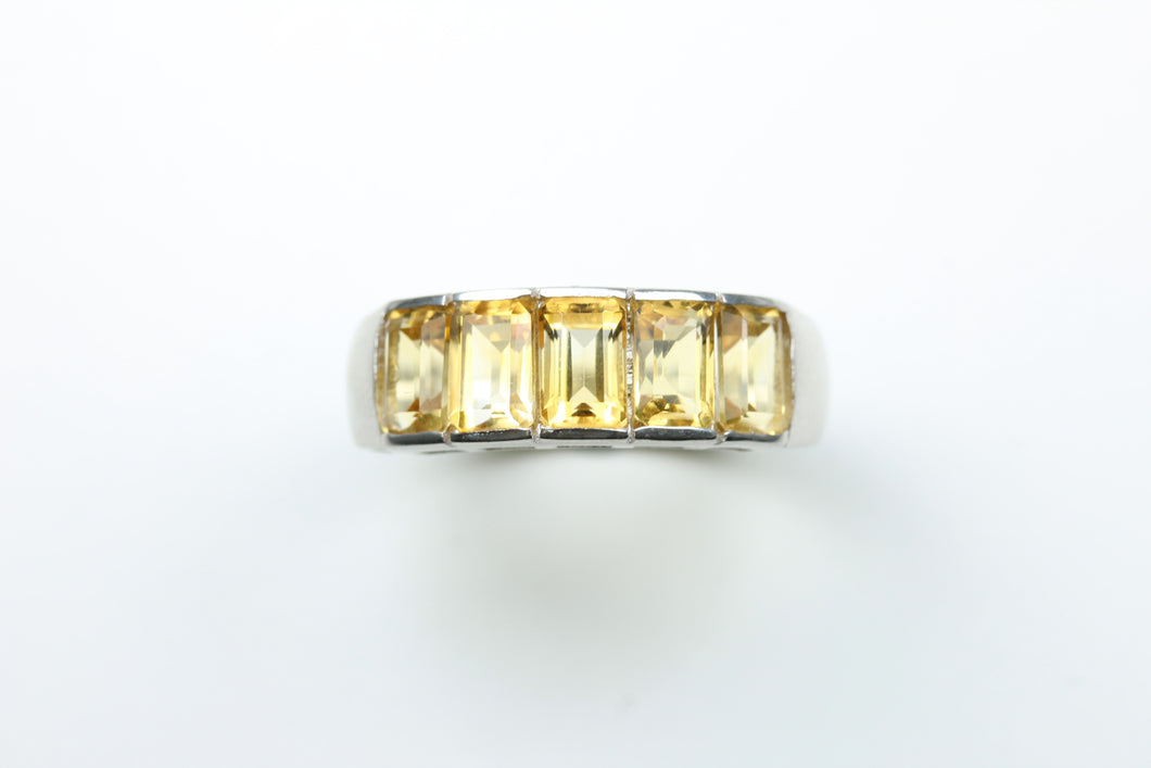 Sterling Silver Emerald-Cut Citrine Ring