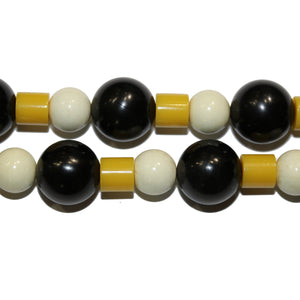 Black, White and Yellow Bakelite Necklace