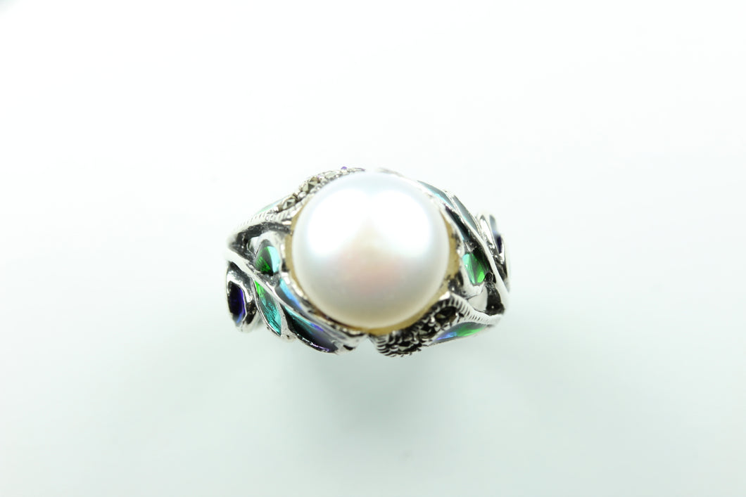 Silver Decorative Floral Button Pearl Ring