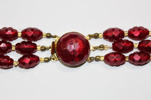 Red Three Strand Necklace