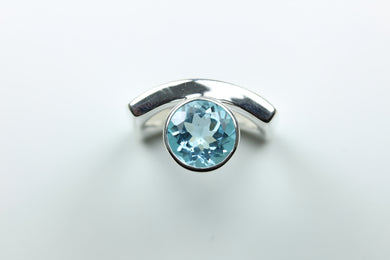 Sterling Silver Aquamarine Ring Evil Eye