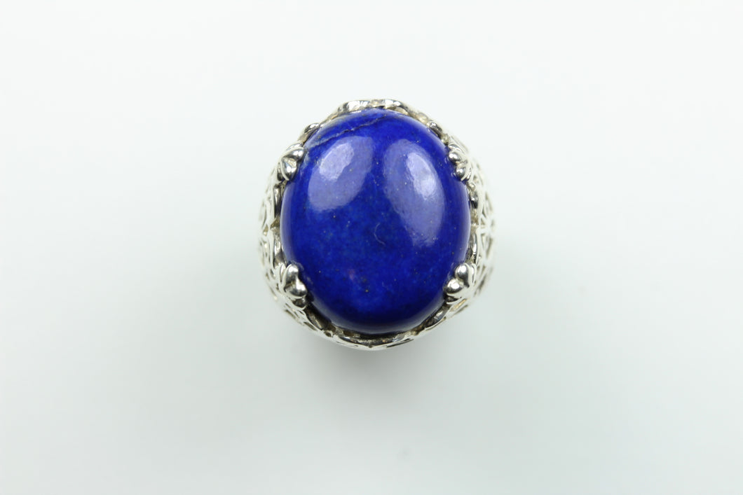 Sterling Silver Scale Design Lapis Lazuli Ring