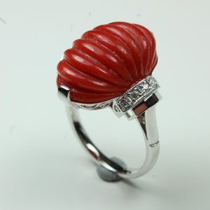 9ct White Gold 13.27ct Ridged Momo Coral and Diamond Cocktail Ring