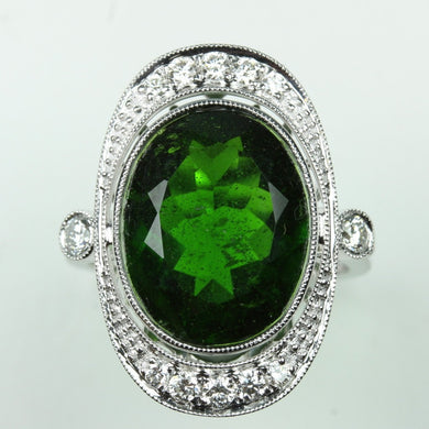 9ct White Gold 8.84ct Chrome Diopside and Diamonds Cocktail Ring