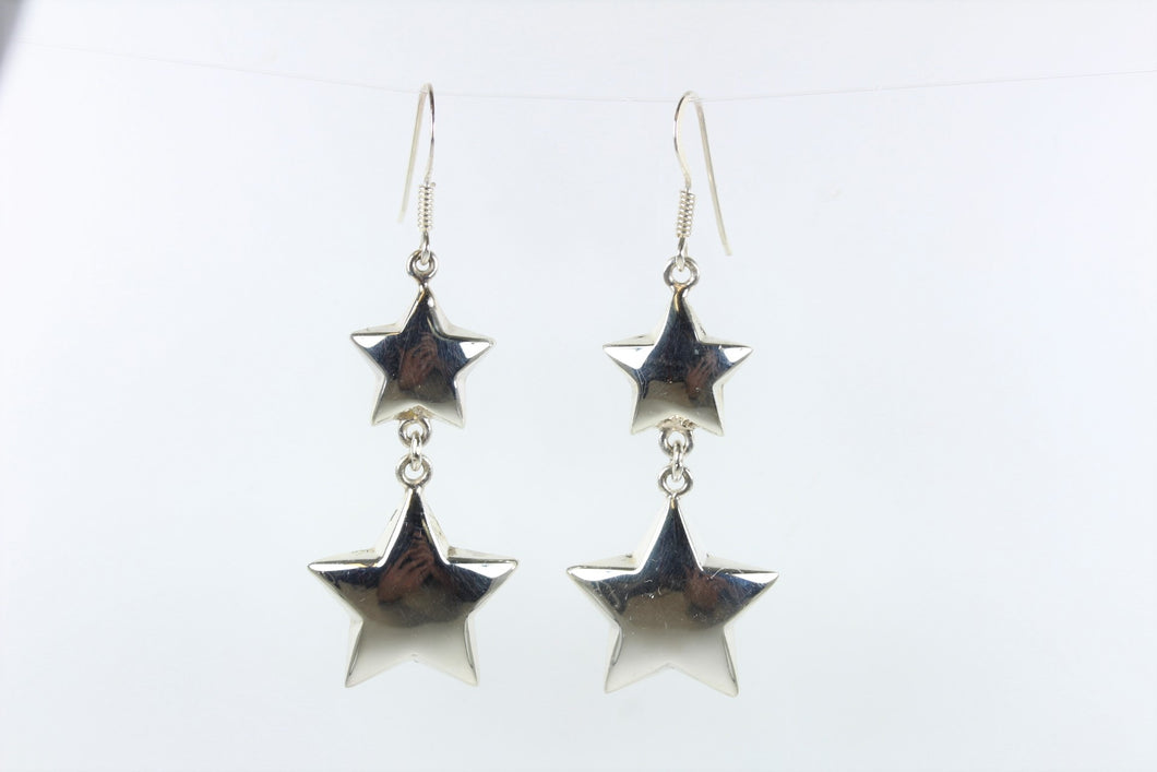 Sterling Sliver Shepard Hook Star Earrings
