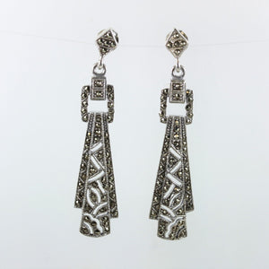 Sterling Silver Studded Art Deco Marcasite Earrings