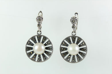 Radiating Sterling Silver and Marcasite Studded Pearl Earrings