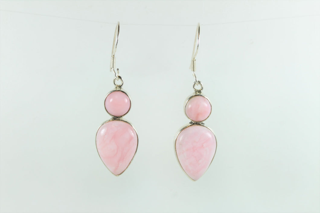 Sterling Silver Sheppards Hook Pink Peruvian Opal Earrings