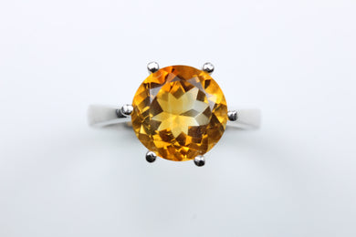 Sterling Silver Round Cut Citrine Ring