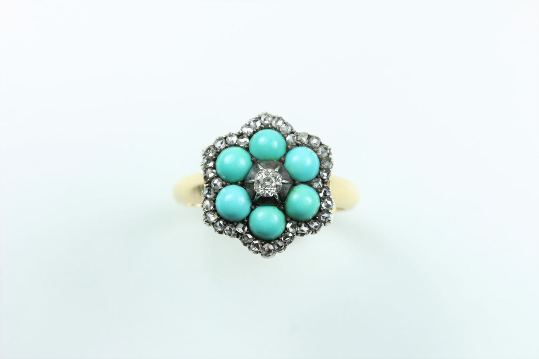 Vintage 18ct Yellow Gold Turquoise and Old Cut Diamond Cluster Ring