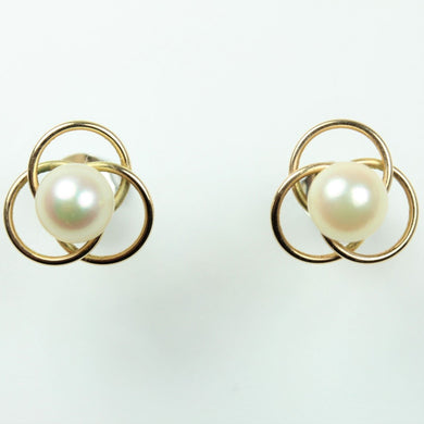 Vintage 9ct Yellow Gold Akoya Pearl Stud Earrings