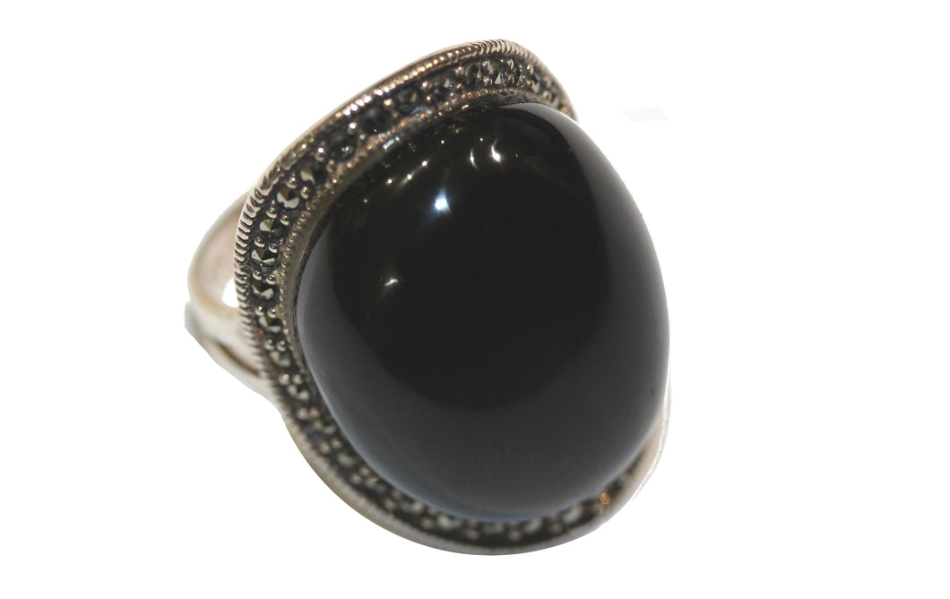 Onyx Marcasite Ring