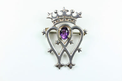 Silver Scottish Amethyst Luckenbooth Brooch