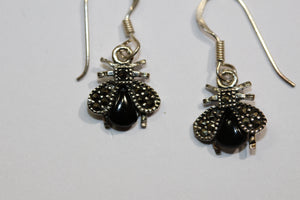 Sterling Silver Onyx Marcasite Beetle Drops