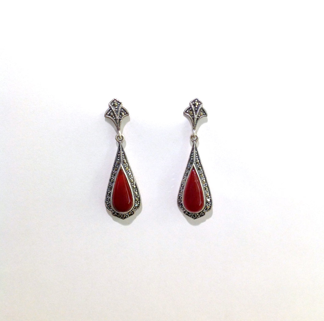 Art Deco Inspired Carnelian and Marcasite Drop Earrings