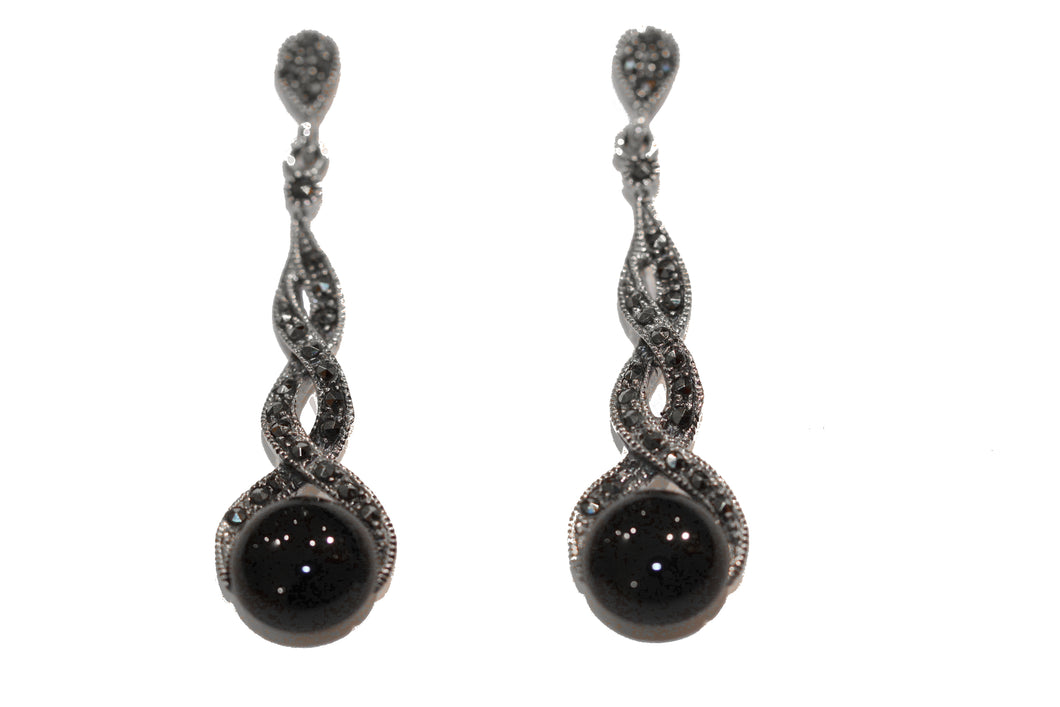 Sterling Silver Onyx Marcasite Drops
