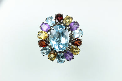 Sterling Silver Topaz With Surrounding Citrine Garnet Amethyst Ring