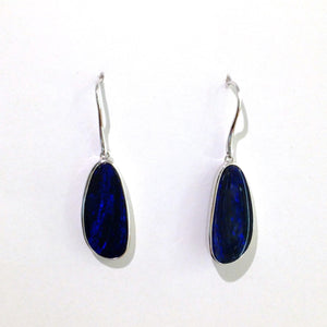 Australian Black Opal Drop Earrings