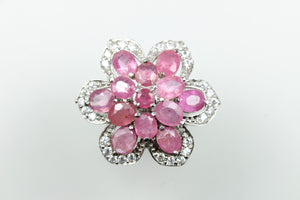 Sterling Silver Flower Ruby Ring