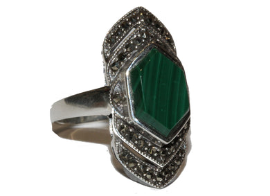 Malachite and Marcasite Ring
