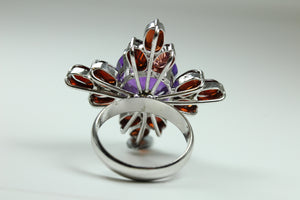 Sterling Silver Amethyst And Garnet Ring