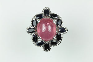 Sterling Silver Tourmaline Sapphire Ring