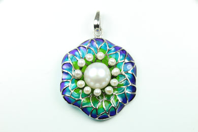 Sterling Silver Enamel And Pearl Pendant