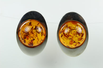 Sterling Silver Elliptical Shaped Amber Cabochon Stud Earrings