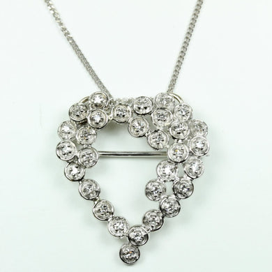 18ct White Gold Diamond Heart Brooch/Pendant with Chain
