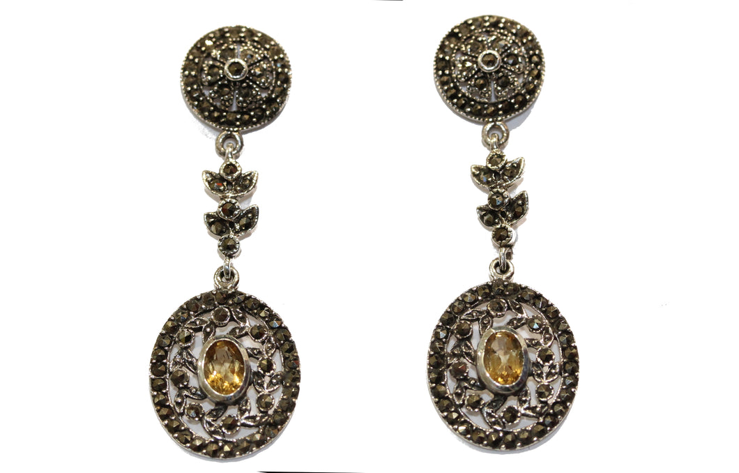 Marcasite and Citrine Drops