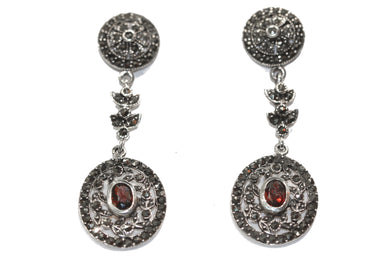 Marcasite and Garnet Drops